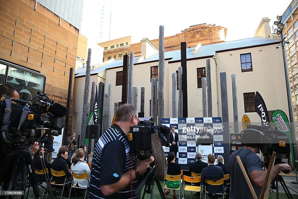 Bill Pulver speaks to the media during the Australian Wallabies Bledisloe Cup launch at the Museum of Sydney on August 9, 2013 in Sydney, Australia.