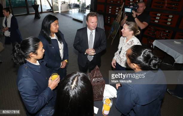 Bill Pulver talks to Wallaroos during the Australian Wallaroos team farewell at View By Sydney on August 1 2017 in Sydney Australia The Wallaroos...