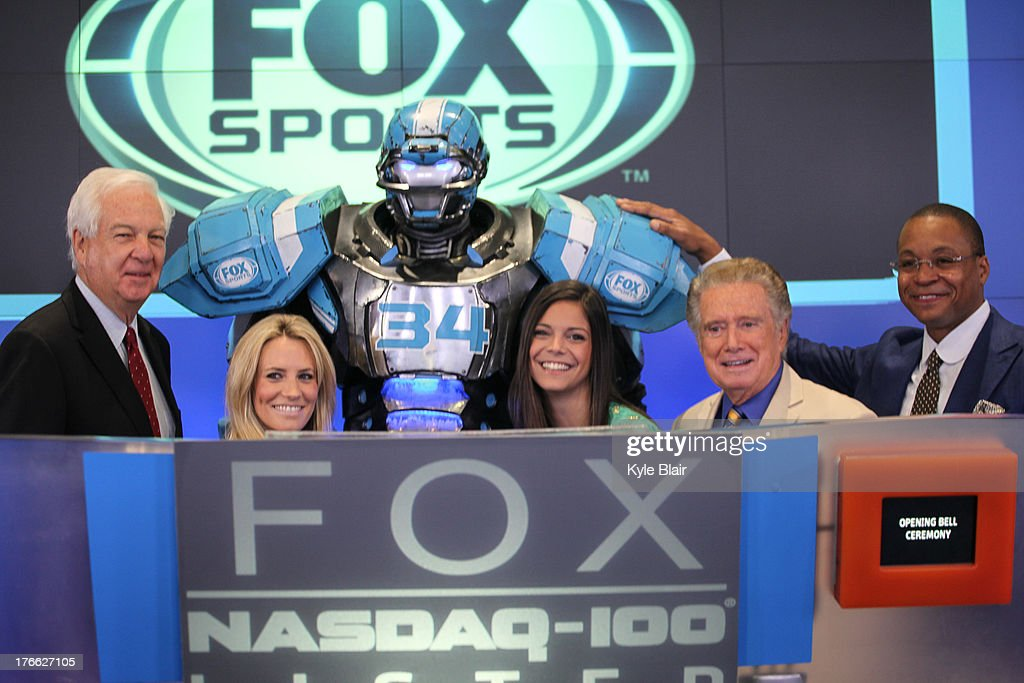 Bill Raftery; Cleatus The Robot; Fox Sports Girls; <a gi-track='captionPersonalityLinkClicked' href=/galleries/search?phrase=Regis+Philbin&family=editorial&specificpeople=202495 ng-click='$event.stopPropagation()'>Regis Philbin</a>; Gus Johnson ring the opening bell at the NASDAQ MarketSite on August 16, 2013 in New York City.