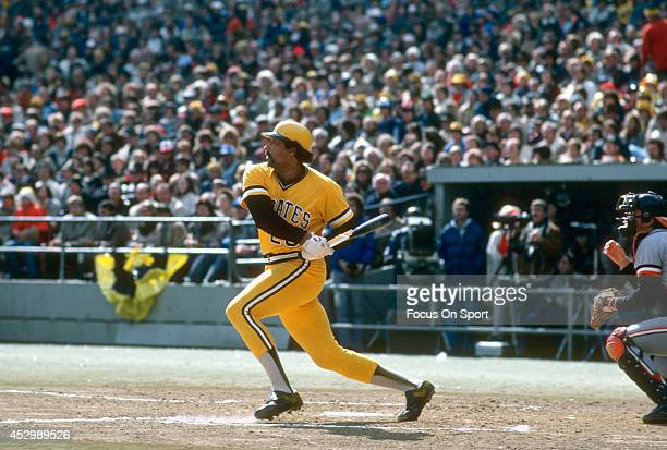 Bill Robinson of the Pittsburgh Pirates bats against the San Francisco Giants during an Major League Baseball game circa 1979 at Three Rivers Stadium...