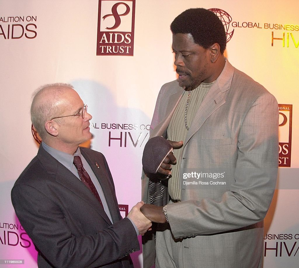 Bill Roedy and Patrick Ewing during 2002 Awards For Business Excellence at Chelsea Piers in New York City New York United States