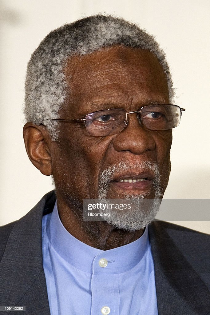 <a gi-track='captionPersonalityLinkClicked' href=/galleries/search?phrase=Bill+Russell+-+Basketball+Player&family=editorial&specificpeople=11524303 ng-click='$event.stopPropagation()'>Bill Russell</a>, former professional basketball player and head coach of the Boston Celtics, listens before being awarded the Presidential Medal of Freedom from U.S. President Barack Obama at the White House in Washington, D.C., U.S., on Tuesday, Feb. 15, 2011. , D.C., U.S., on Tuesday, Feb. 15, 2011. Obama said billionaire Warren Buffett and 14 other people awarded the Presidential Medal of Freedom today 'reveal the best of who we are and who we aspire to be.' Photographer: Joshua Roberts/Bloomberg via Getty Images