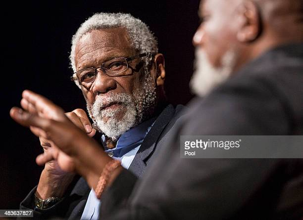 Bill Russell looks on as Dr Harry Edwards asks him how he felt about students getting paid for sports while in College on the second day of the Civil...