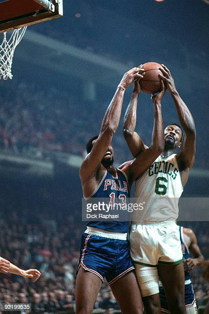 Bill Russell of the Boston Celtics and Wilt Chamberlain of the of the Philadephia 76ers battle for a rebound during a game played in 1967 at the...