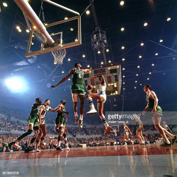 Bill Russell of the Boston Celtics goes up for a block against the Los Angeles Lakers at the Los Angeles Memorial Sports Arena in Los Angeles...