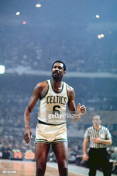 Bill Russell of the Boston Celtics looks on during a game played in 1968 at the Boston Garden in Boston Massachusetts NOTE TO USER User expressly...