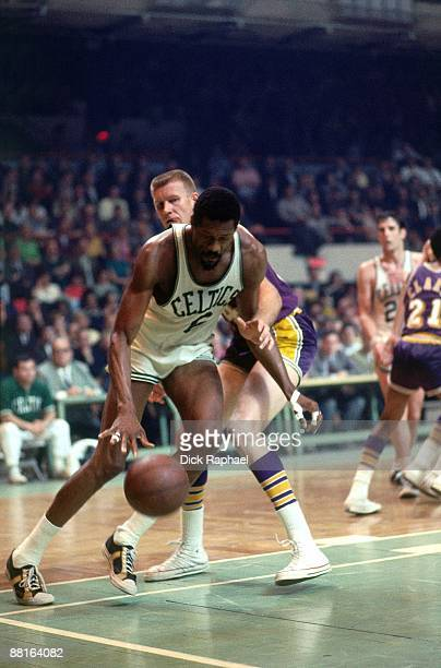 Bill Russell of the Boston Celtics makes a move against the Los Angeles Lakers during a game played in 1968 at the Boston Garden in Boston...