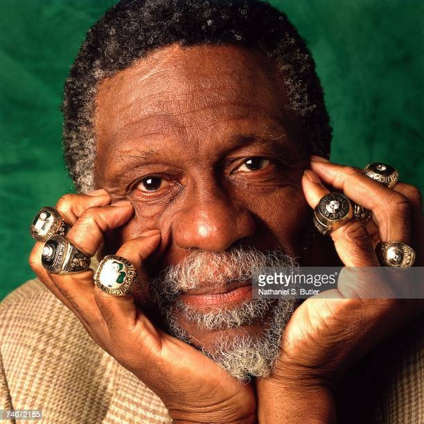 Bill Russell of the Boston Celtics poses for a photo with eleven of his Championship rings in 1996 in Boston Massachusetts NOTE TO USER User...