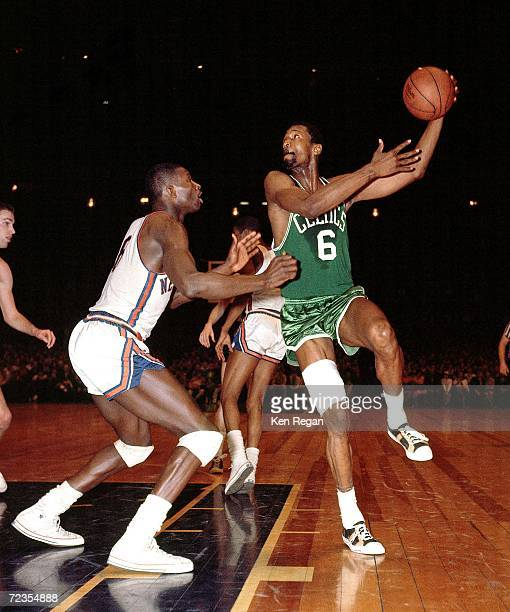 Bill Russell of the Boston Celtics shoots a hook shot against the New York Knicks in 1967 at Madison Square Garden in New York New York NOTE TO USER...