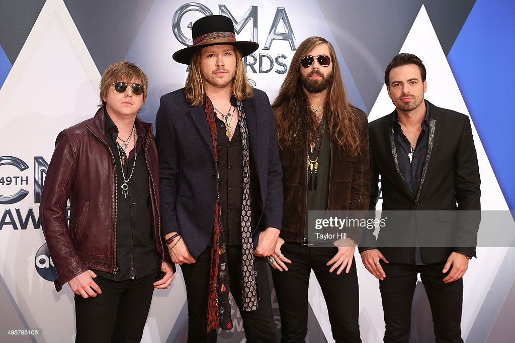 Bill Satcher, Michael Hobby, Graham Deloach and Zach Brown of A Thousand Horses attend the 49th annual CMA Awards at the Bridgestone Arena on November 4, 2015 in Nashville, Tennessee.