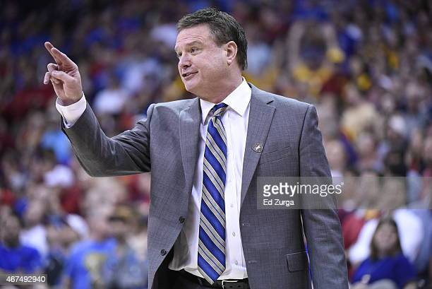 Bill Self head coach of the Kansas Jayhawks reacts against the Iowa State Cyclones during the championship game round of the Big 12 Basketball...