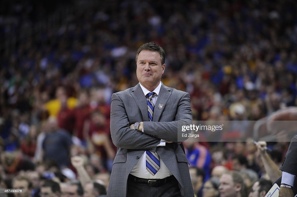 <a gi-track='captionPersonalityLinkClicked' href=/galleries/search?phrase=Bill+Self+-+Coach&family=editorial&specificpeople=228699 ng-click='$event.stopPropagation()'>Bill Self</a> head coach of the Kansas Jayhawks reacts against the Iowa State Cyclones during the championship game round of the Big 12 Basketball Tournament March 14, 2015 at Sprint Center in Kansas City, Missouri.