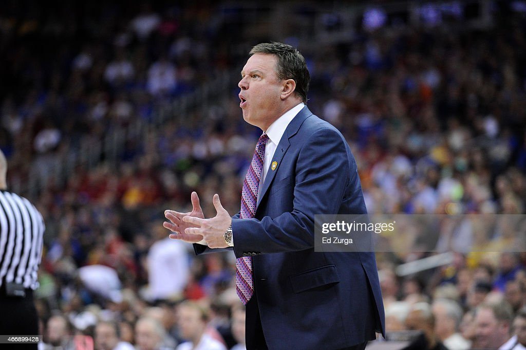<a gi-track='captionPersonalityLinkClicked' href=/galleries/search?phrase=Bill+Self+-+Coach&family=editorial&specificpeople=228699 ng-click='$event.stopPropagation()'>Bill Self</a> head coach of the Kansas Jayhawks reacts in a game against the Baylor Bears during the semifinals round of the Big 12 basketball tournament at Sprint Center on March 13, 2015 in Kansas City, Missouri.