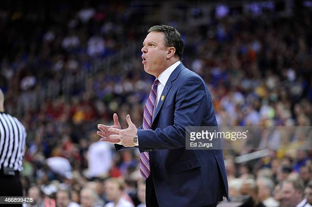 Bill Self head coach of the Kansas Jayhawks reacts in a game against the Baylor Bears during the semifinals round of the Big 12 basketball tournament...