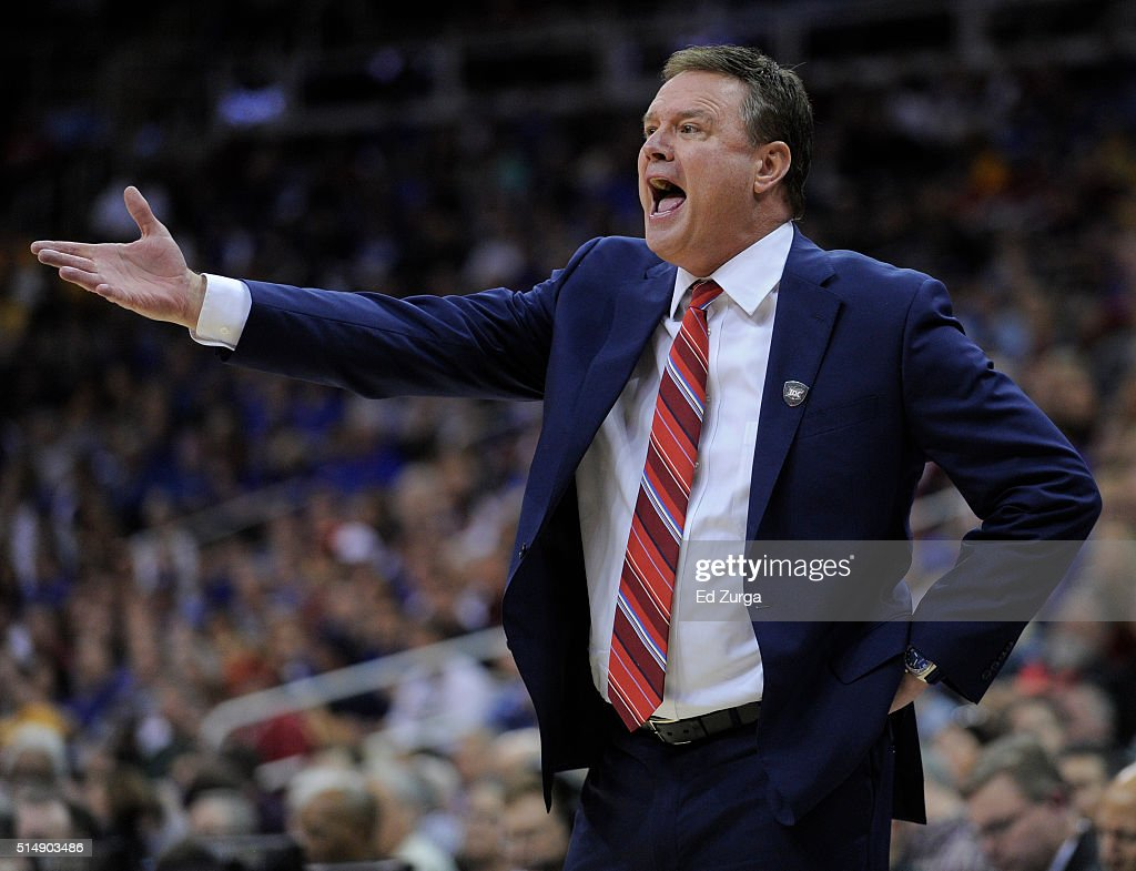 <a gi-track='captionPersonalityLinkClicked' href=/galleries/search?phrase=Bill+Self+-+Basketballtrainer&family=editorial&specificpeople=228699 ng-click='$event.stopPropagation()'>Bill Self</a> head coach of the Kansas Jayhawks reacts to a foul call against the Baylor Bears in the first half during the semifinals of the Big 12 Basketball Tournament at Sprint Center on March 11, 2016 in Kansas City, Missouri.