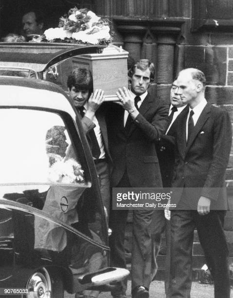 Bill Shankly�s coffin is brought out of the church by Emlyn Hughes and Ray Clemence Shankly died unexpectedly of a heart attack in September 1981...