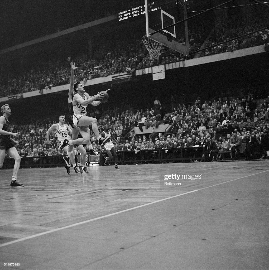 Bill Sharman Jumping to Make a Basket