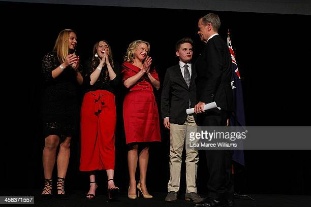 Bill Shorten is joined by wife Chloe Shorten and family Alexandra Georgette and Rupert on stage at Moonee Valley Racing Club on July 2 2016 in...