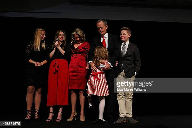 Bill Shorten is joined by wife Chloe Shorten and family Alexandra Georgette Clementine and Rupert after thanking Labor party supporters at Moonee...