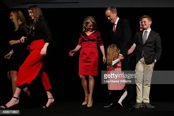 Bill Shorten is joined on stage by wife Chloe Shorten and family Alexandra Georgette Clementine and Rupert after thanking Labor party supporters at...