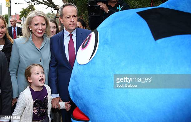 Bill Shorten Leader of the Opposition and Leader of the Australian Labor Party his wife Chloe Bryce and children Clementine and Georgette walk past a...
