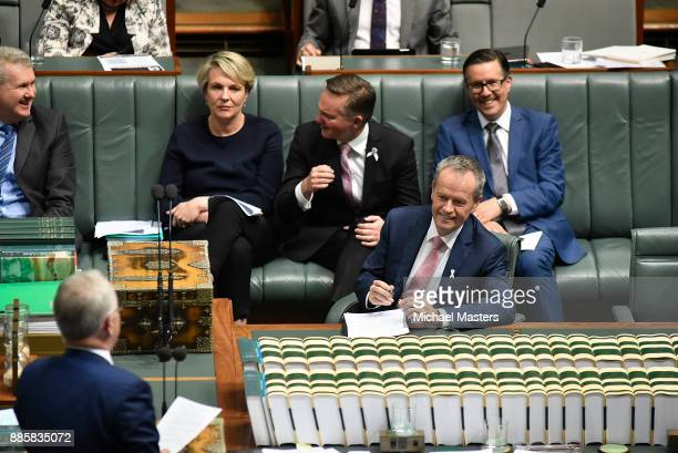 Bill Shorten Leader of the Opposition looks in the direction of the Prime Minister Malcolm Turnbull during Question Time in House of Representatives...