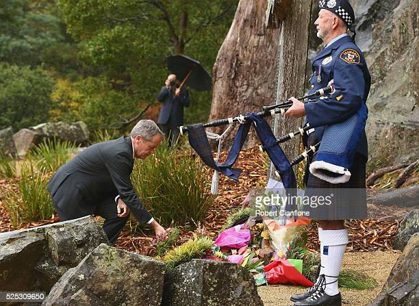 Bill Shorten MP lays a wreath during the 20th anniversary commemoration service of the Port Arthur massacre on April 28 2016 in Port Arthur Australia...
