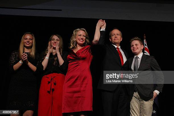 Bill Shorten poses with wife Chloe Shorten and family Alexandria Georgette and Rupert after thanking Labor party supporters at Moonee Valley Racing...