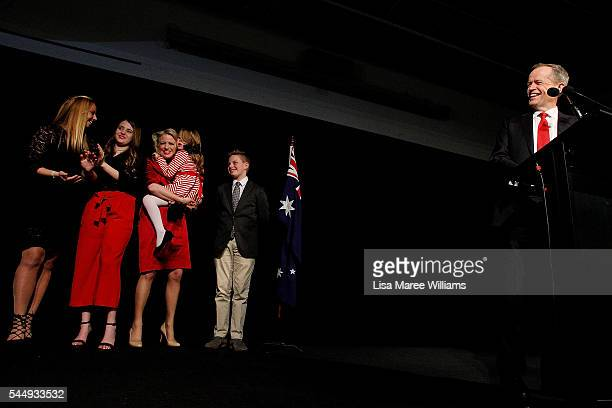 Bill Shorten thanks Labor party supporters at Moonee Valley Racing Club as wife Chloe Shorten and family join him on July 2 2016 in Melbourne...
