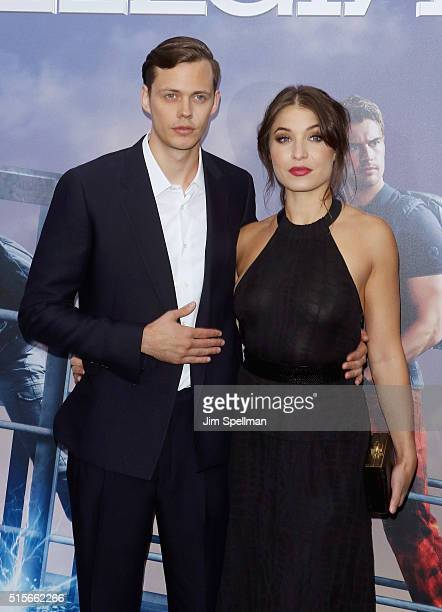 Bill Skarsgard and guest attends the 'Allegiant' New York premiere at AMC Loews Lincoln Square 13 theater on March 14 2016 in New York City