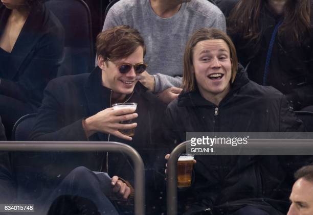 Bill Skarsgard seen at the Calgary Flames Vs New York Rangers game at Madison Square Garden on February 5 2017 in New York City