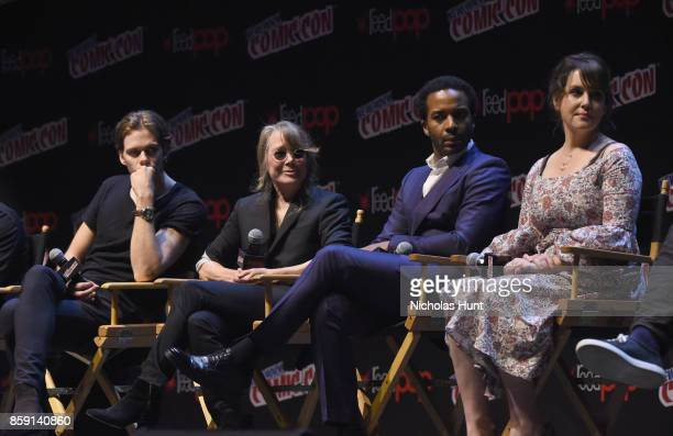 Bill Skarsgard Sissy Spacek Andre Holland and Melanie Lynskey speak onstage at the Castle Rock Panel during the 2017 New York Comic Con on October 8...