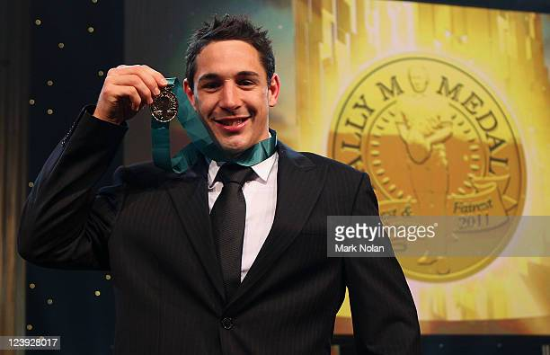 Bill Slater poses with the Dally M Medal during the 2011 Dally M Awards at the Royal Hall of Industries Moore Park on September 6 2011 in Sydney...
