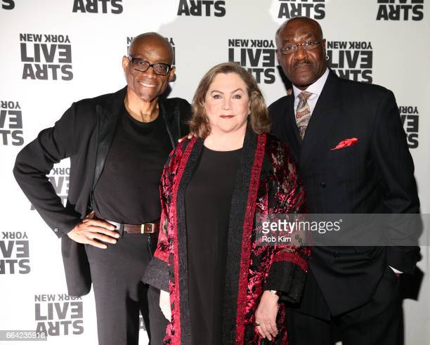 Bill T Jones Kathleen Turner and Delroy Lindo attend New York Live Arts 2017 Live Ideas Gala at Highline Ballroom on April 3 2017 in New York City
