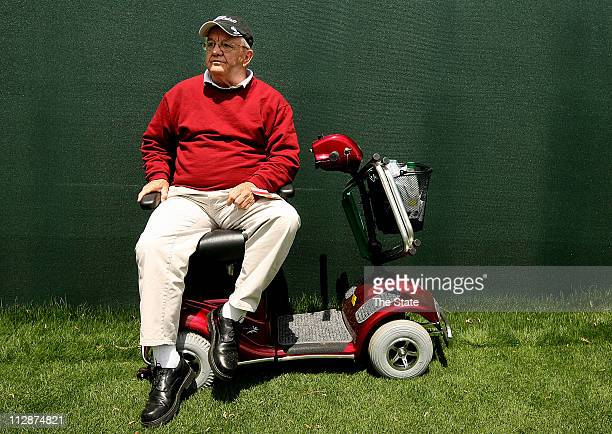 Bill Thomas of Boynton Beach Fla spends his first Masters Tournament watching the action at Amen Corner at Augusta National Golf Club 'I'm sitting at...