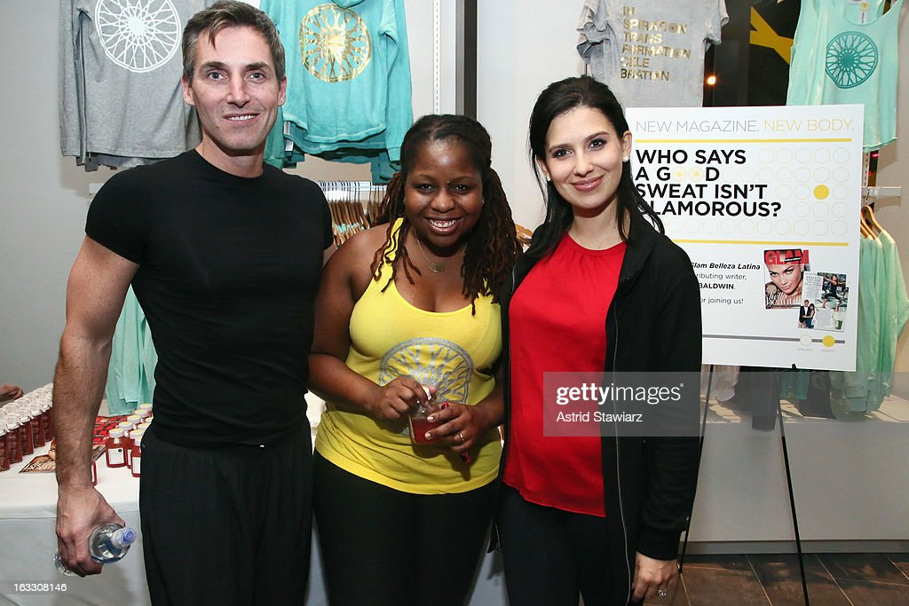 Bill Wackermann Veronica Chambers and Hilaria Baldwin attend the SoulCyle Ride to celebrate the launch of 'Glam Belleza Latina' on March 7 2013 in...