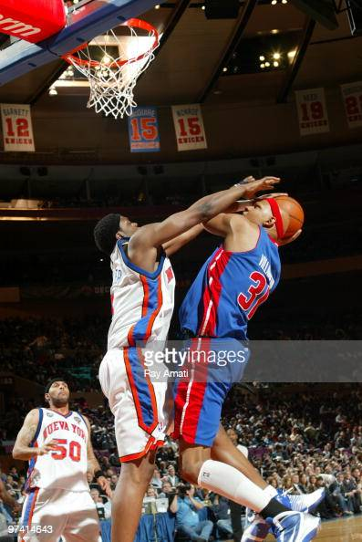 Bill Walker of the New York Knicks lblocks Charlie Villanueva of the Detroit Pistons during the game on March 3 2010 at Madison Square Garden in New...
