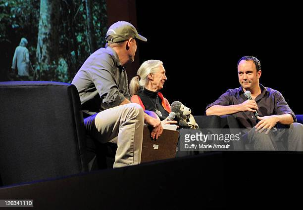 Bill Wallauer Dr Jane Goodall and Dave Matthews attend 2011 Jane Goodall Global Leadership Awards at the El Capitan Theatre on September 24 2011 in...
