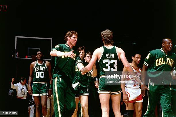 Bill Walton and Larry Bird of the Boston Celtics celebrate after the NBA game against the Atlanta Hawks in Atlanta Georgia NOTE TO USER User...