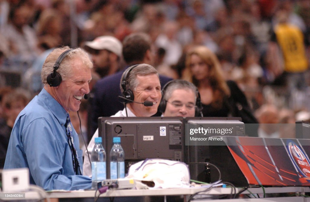 Bill Walton in the ESPN Commentary booth has a laugh with a fellow commentator during the NBA Europe Live Tour presented by EA Sports at the Koeln Arena in Cologne, Germany, Tuesday, October 10, 2006.
