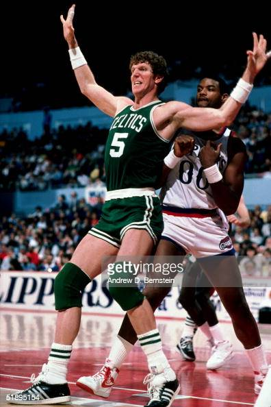 Bill Walton of the Boston Celtics battles for position against the Los Angeles Clippers during the NBA game in Los Angeles California NOTE TO USER...