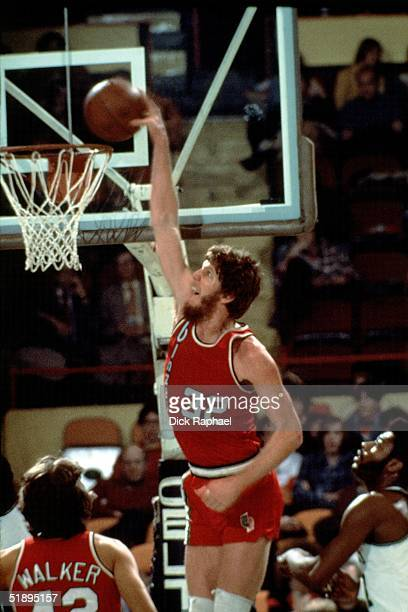 Bill Walton of the Portland Trailblazers goes for a dunk against the Boston Celtics during the NBA game at the Boston Garden in Boston Masachussetts...