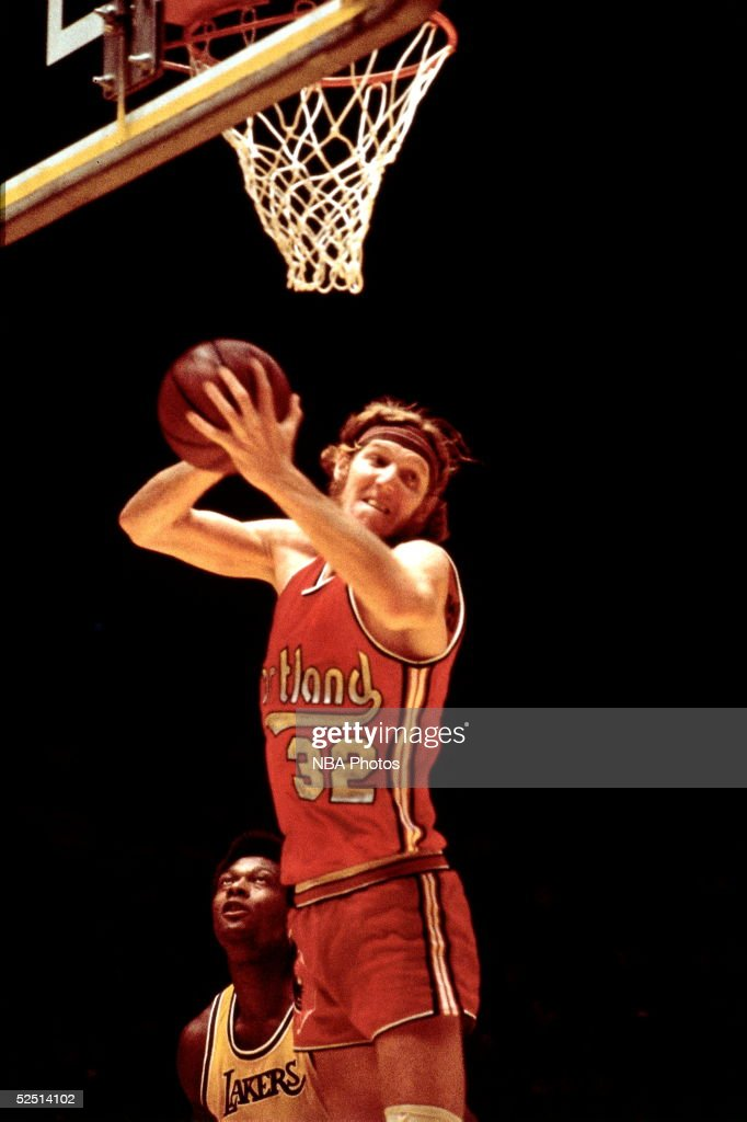 Bill Walton of the Portland Trailblazers grabs a rebound during a game against the Los Angeles Lakers