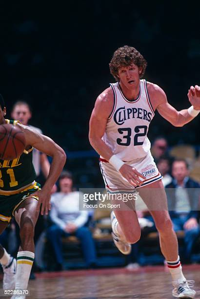 Bill Walton of the San Diego Clippers runs to follow the ball during a game in 1982 against the Utah Jazz