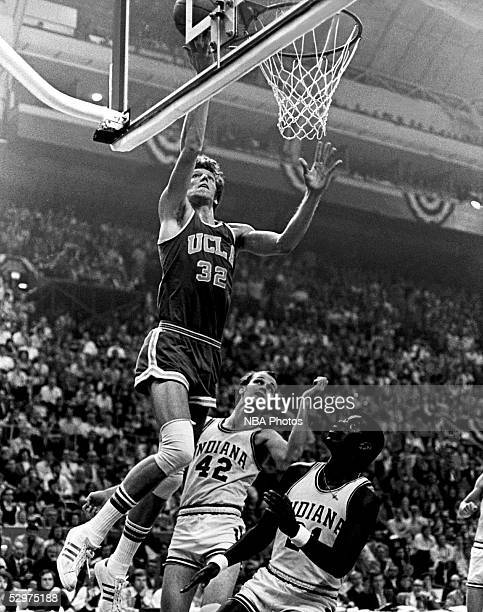 Bill Walton of UCLA drives to the basket for layup against Indiana University during an NCAA basketball game circa 1973 NOTE TO USER User expressly...