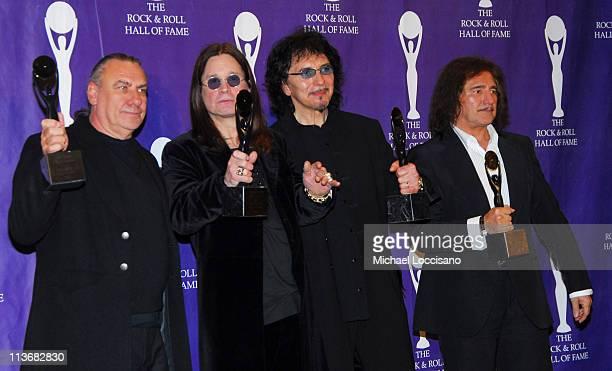 Bill Ward Ozzy Osbourne Tony Iommi and Geezer Butler of Black Sabbath inductees