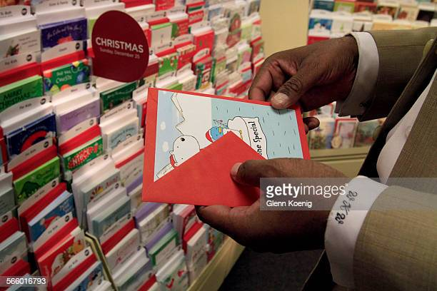 Bill Ward shops for greeting cards at the Hallmark store in Macys Plaza in Los Angeles on November 17