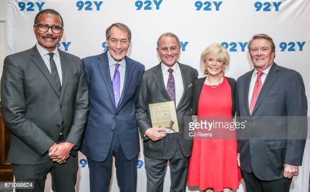 Bill Whitaker Charlie Rose Jeff Fager Lesley Stahl and Steve Kroft attend 'Fifty Years of 60 Minutes' book launch event at 92nd Street Y on November...