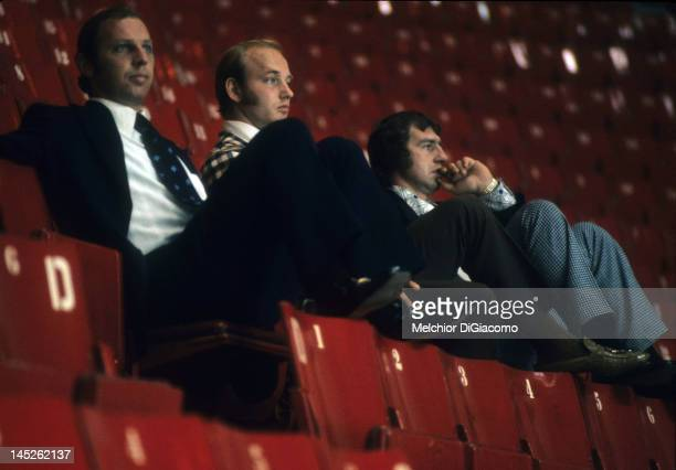 Bill White Bill Goldsworthy and Don Awrey of Canada watch the Soviets practice before Game 1 of the 1972 Summit Series on September 1 1972 at the...