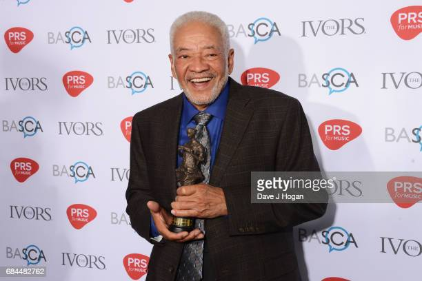 Bill Withers poses in the winners room with the PRS for Music Special International Award at the Ivor Novello Awards at Grosvenor House on May 18...